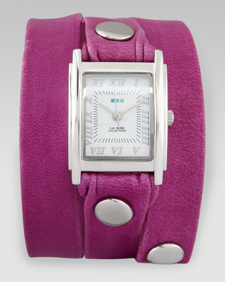 Wrap Rectangle Watch, Pink