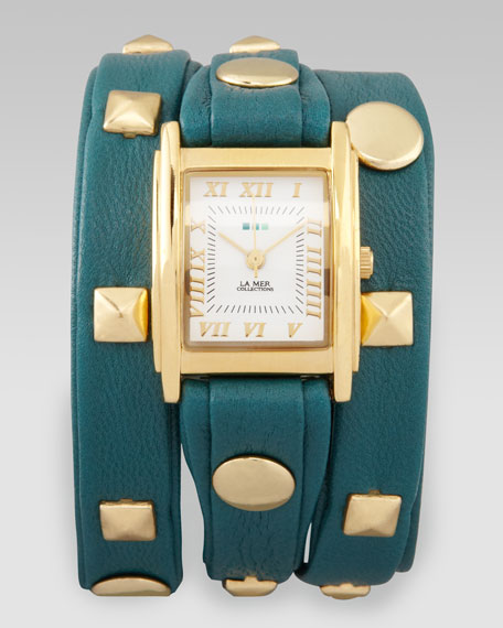 Studded Wrap Rectangle Watch, Teal