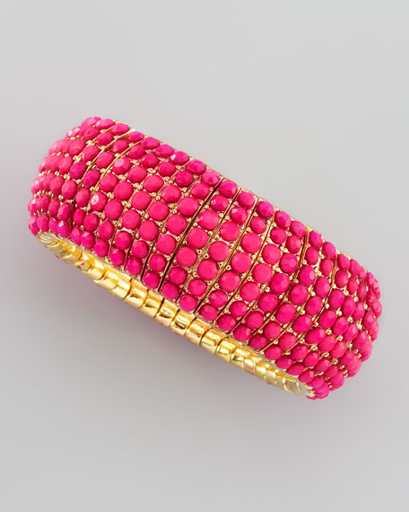 Beaded Stretch Bracelet, Hot Pink