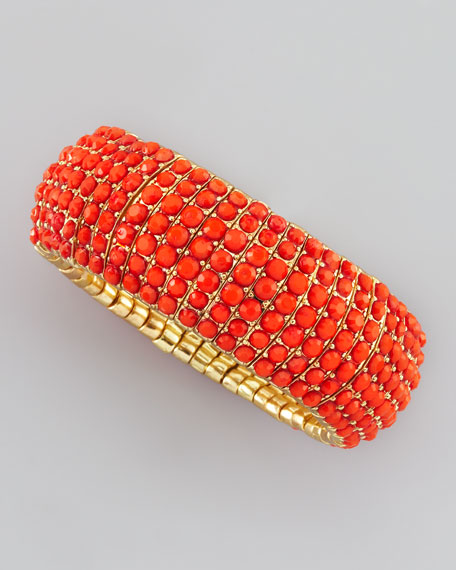 Beaded Stretch Bracelet, Coral