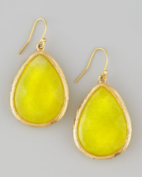 Teardrop Pendant Earrings, Lemon
