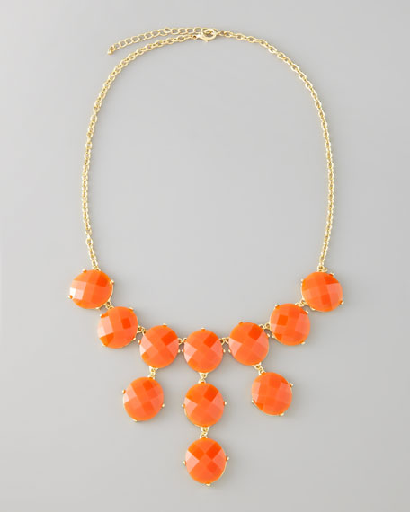 Bubble Bib Necklace, Orange