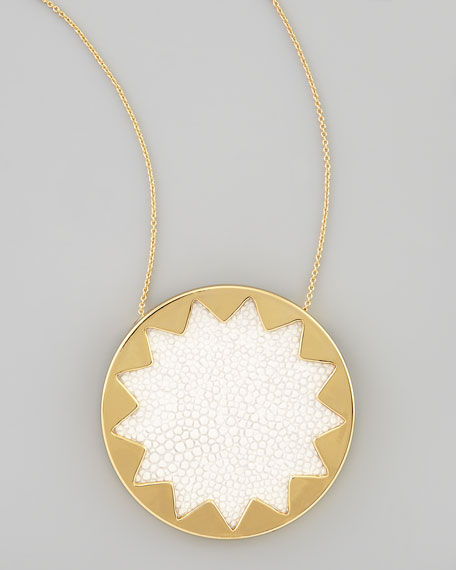 Sandburst Pendant Necklace, White
