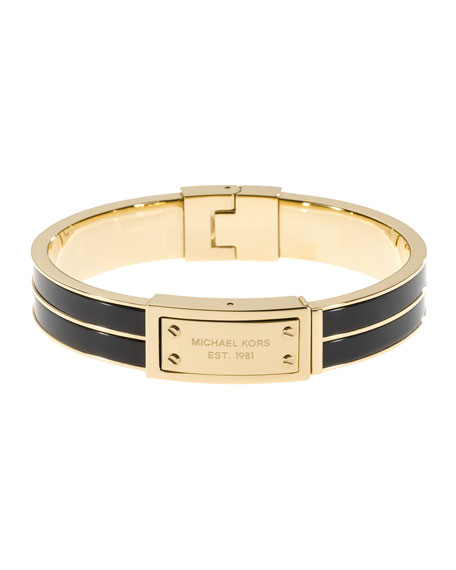 Plaque Hinge Bangle, Golden/Black