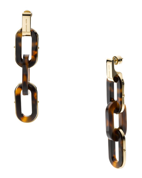 Three-Link Earrings, Golden/Tortoise