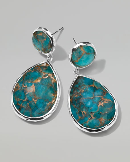 "Wonderland Snowman Turquoise Drop Earrings, 1 1/3""L"