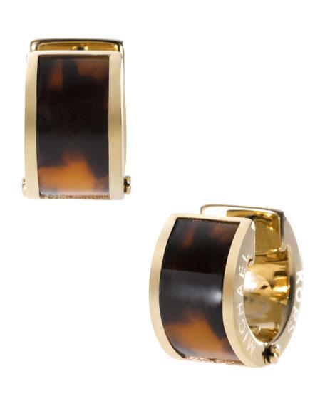 Barrel Huggie Earrings, Golden/Tortoise