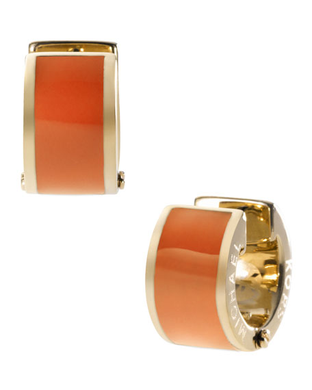 Barrel Huggie Earrings, Golden/Orange
