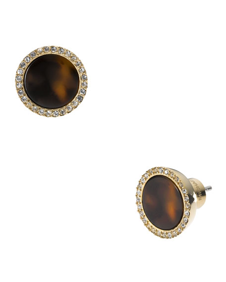 Pave Slice Stud Earrings, Golden/Tortoise