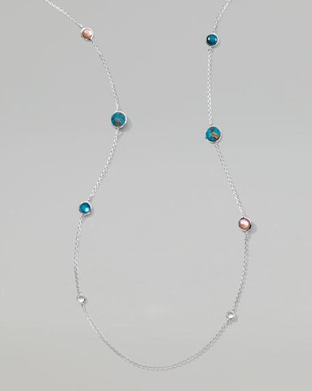 "Wonderland Silver Lollipop Necklace 37"", Malibu"