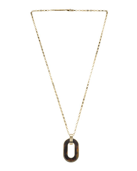 Link Pendant Necklace, Golden/Tortoise