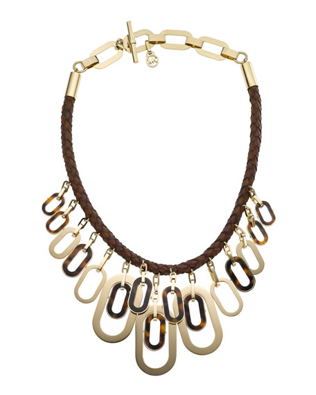 Leather & Links Necklace, Golden/Tortoise