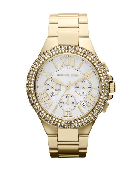 Mid-Size Golden Stainless Steel Camille Chronograph Glitz Watch