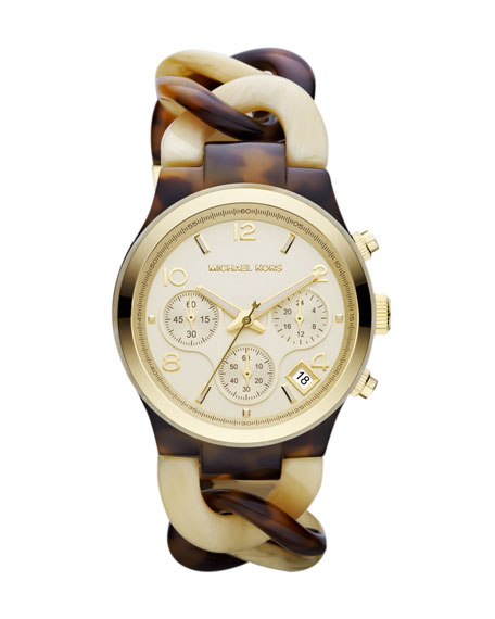 Mid-Size Cream/Horn Acetate Runway Watch