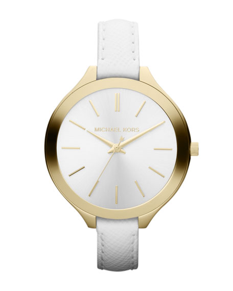 Mid-Size White Leather Runway Watch