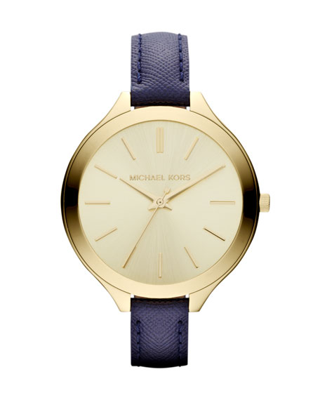 Mid-Size Navy Leather Runway Watch
