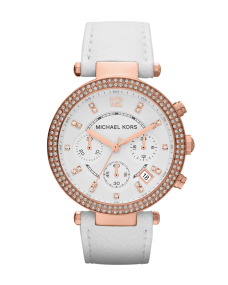 Mid-Size White Leather Parker Chronograph Glitz Watch
