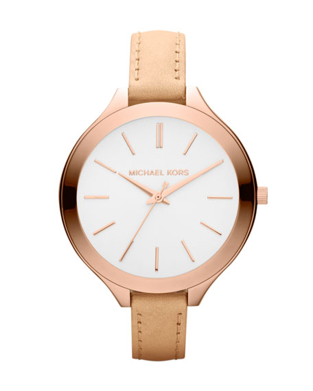 Mid-Size Nude Leather Runway Watch