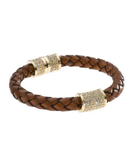 Braided Leather Crystallized Bracelet, Golden/Luggage