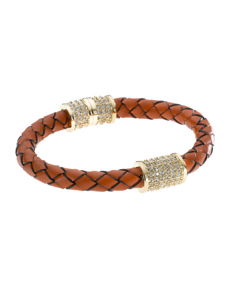 Braided Leather Crystallized Bracelet, Orange, Golden