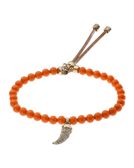 Beaded Pave-Horn Bracelet, Golden/Orange