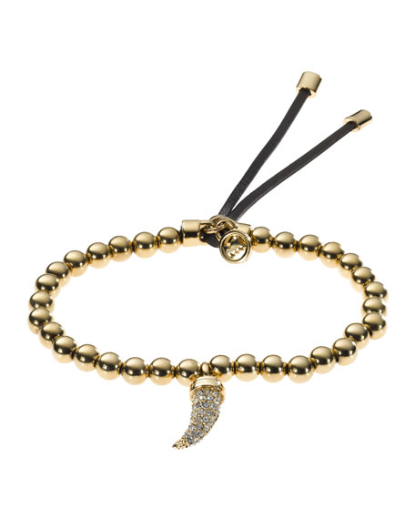 Beaded Pave-Horn Bracelet, Golden