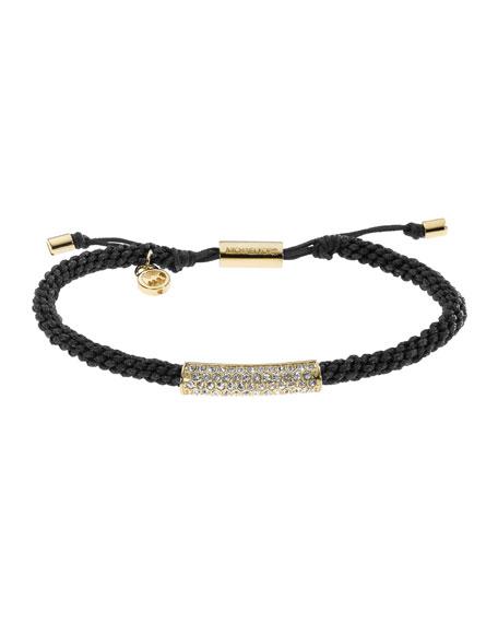 Macrame Cord Pave Bracelet, Black/Golden