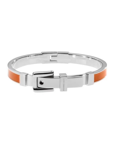 Buckle Enamel Bracelet, Orange/Silver Color