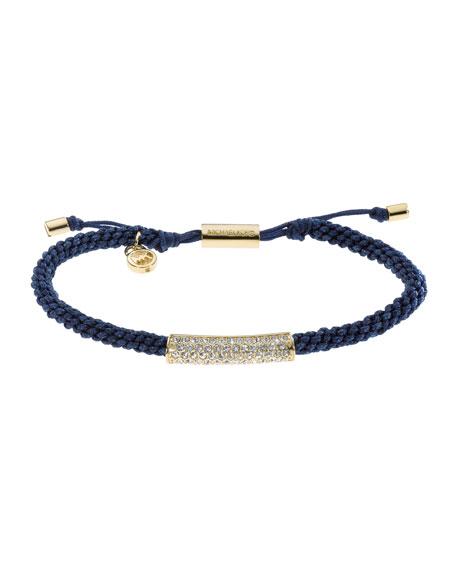 Macrame Cord Pave Bracelet, Navy/Golden