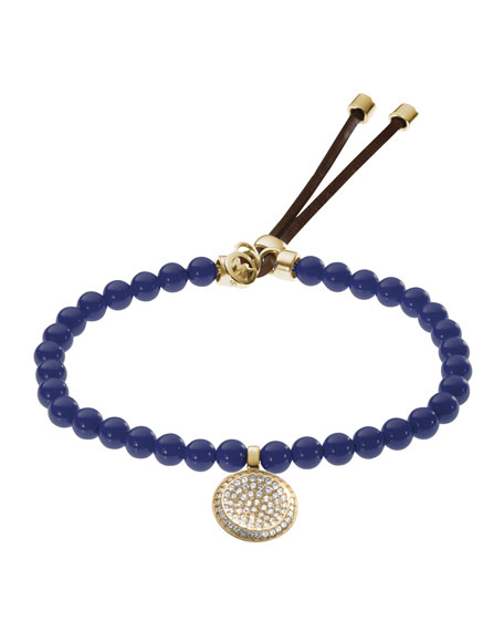 Beaded Pave-Charm Bracelet, Navy