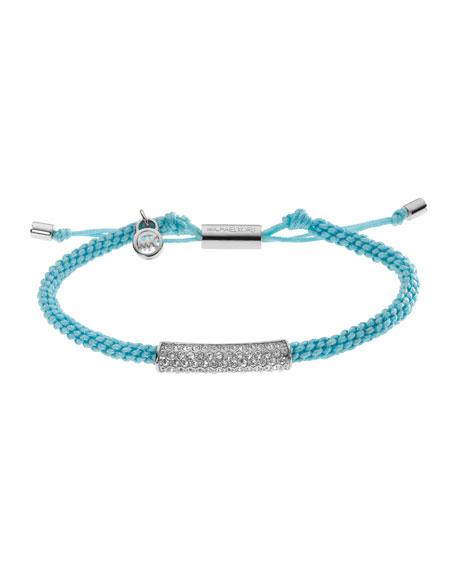 Macrame Cord Pave Bracelet, Turquoise/Silver Color