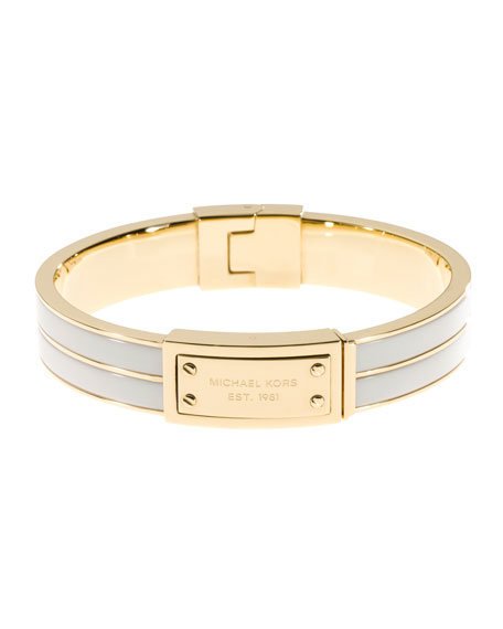 Logo-Plaque Bangle, Ecru/Golden