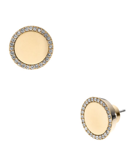 Pave Slice Stud Earrings, Golden