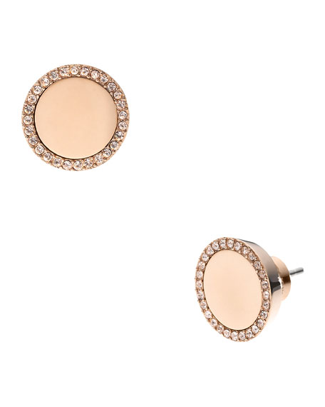 Pave Slice Stud Earrings, Rose Golden