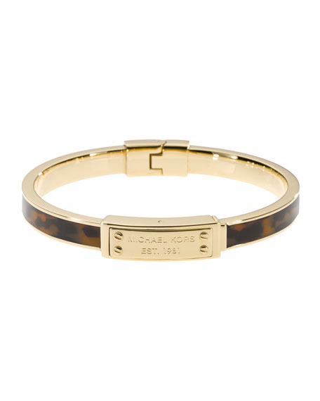 Skinny Logo-Plaque Bangle, Tortoise/Golden