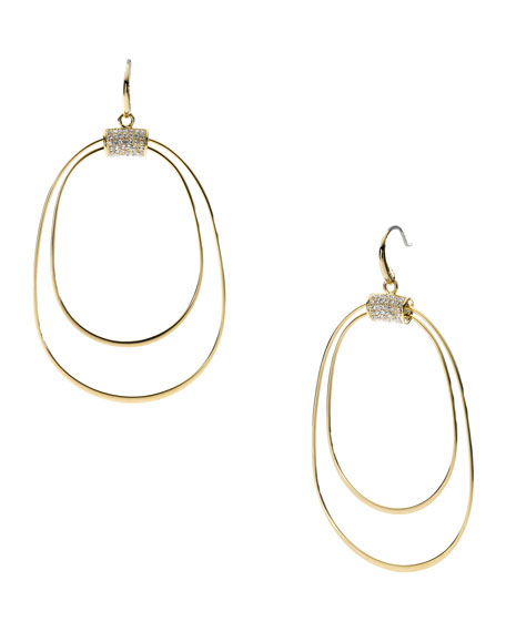Whisp Pave Orbital Earrings, Golden