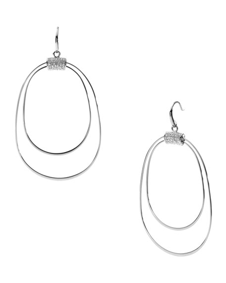 Whisp Pave Orbital Earrings, Silver Color