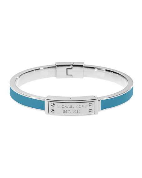 Skinny Logo-Plaque Bangle, Turquoise/Silver Color