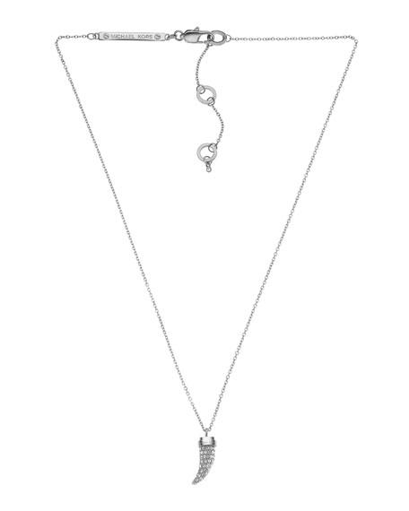 Pave Horn Pendant Necklace, Silver Color
