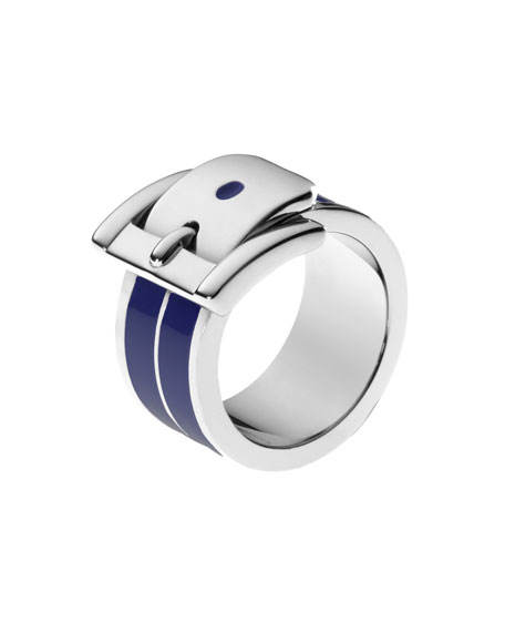 Wide Bedford Buckle Ring, Navy/Silver Color