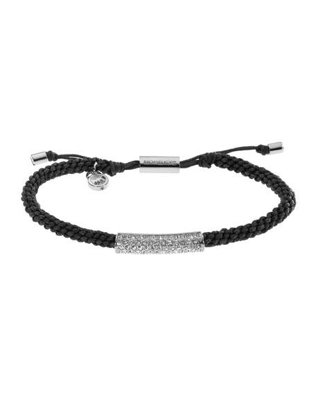 Macrame Cord Pave Bracelet, Black/Silver Color