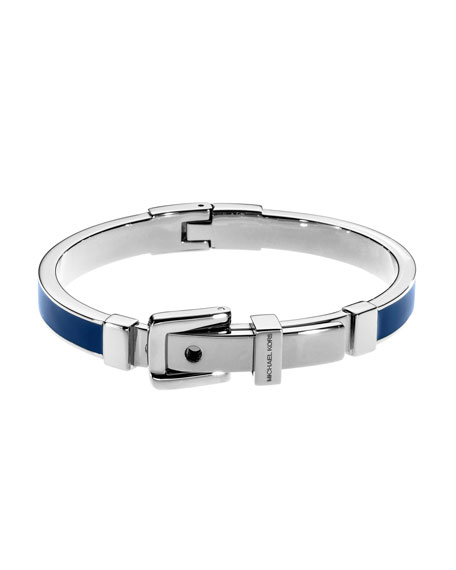 Buckle Enamel Bracelet, Navy/Silver Color