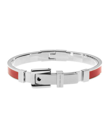 Buckle Enamel Bracelet, Red/Silver Color