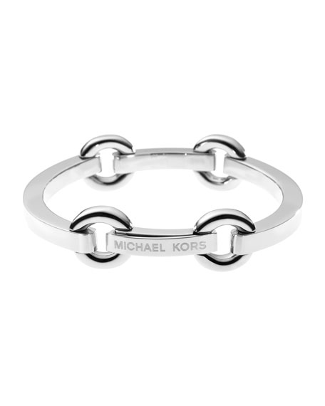 Thin Bit-Link Bracelet, Silver Color