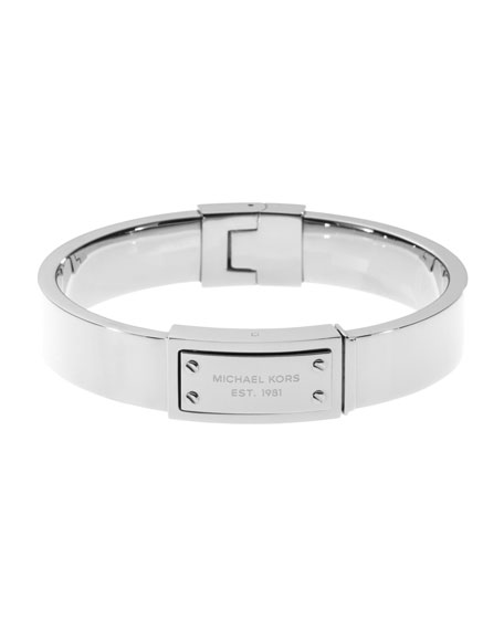 Logo-Plaque Hinge Bangle, Silver Color