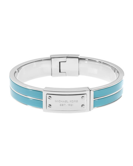 Plaque Hinge Bangle, Silver Color/Turquoise