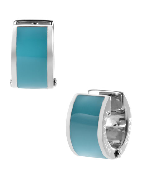 Huggie Earrings, Turquoise/Silver Color