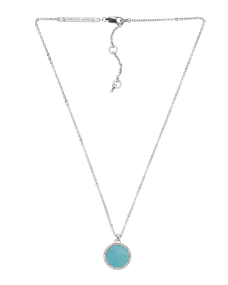 Pave Slice Pendant Necklace, Turquoise/Silver Color