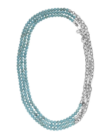 Turquoise-Bead & Chain-Link Necklace, Silver Color