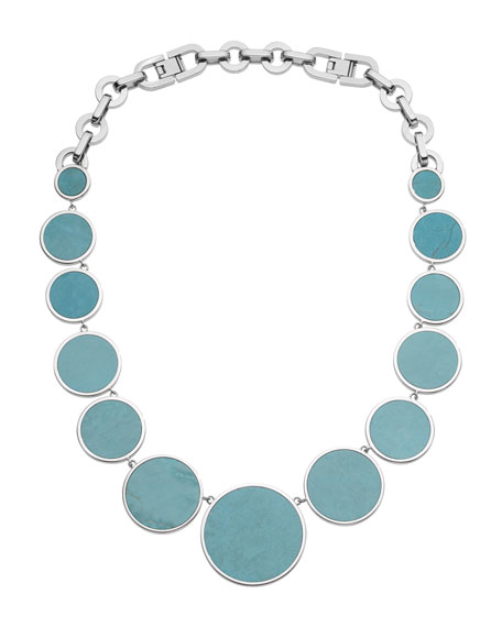 Turquoise Slice Necklace, Silver Color